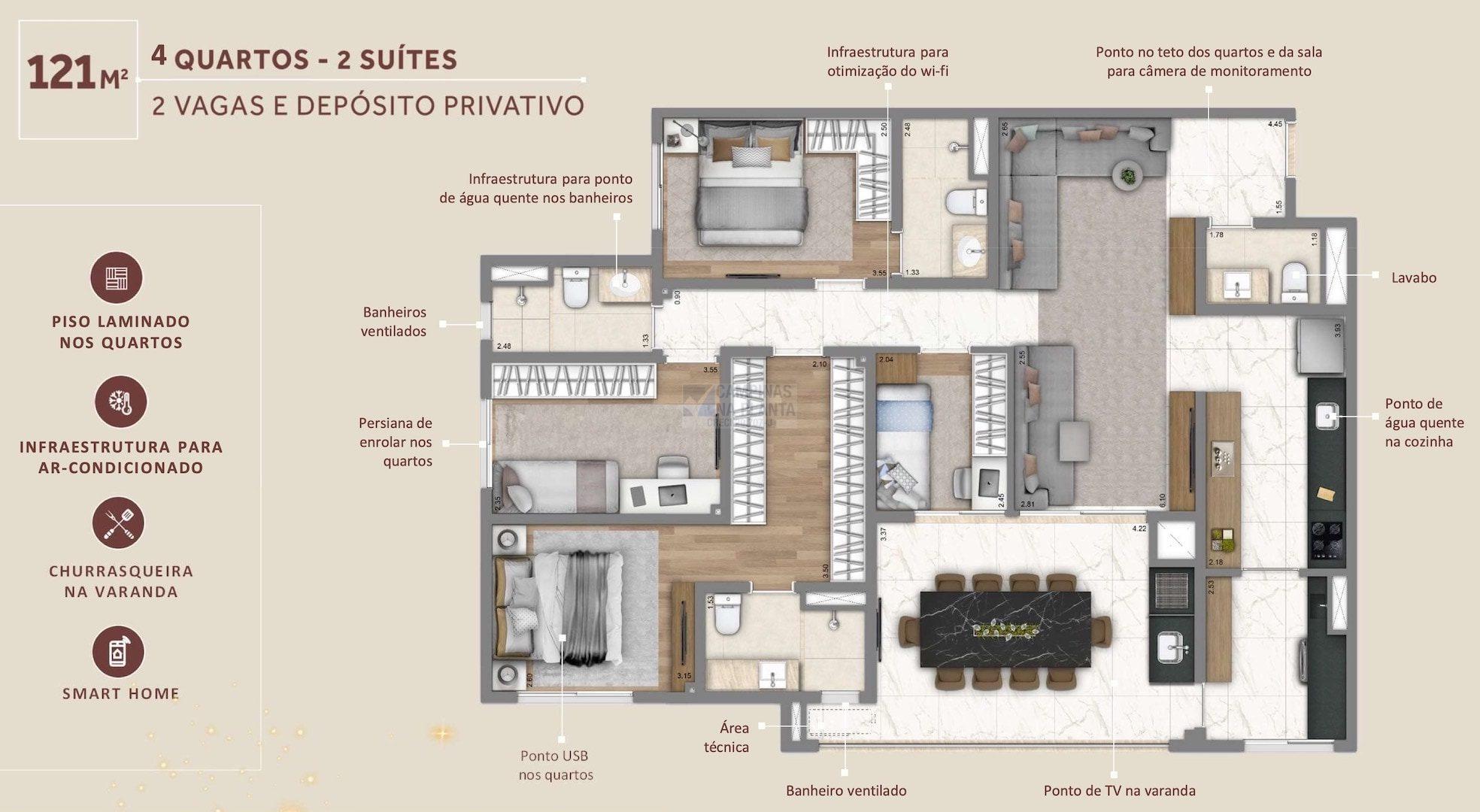 Living Grand Wish Nova Campinas Planta 121 M2 4 Quartos 2 Suites