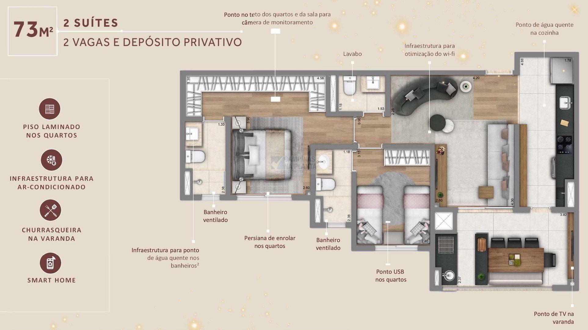 Living Grand Wish Nova Campinas Planta 73 M2 2 Suites