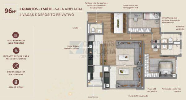 Living Grand Wish Nova Campinas Planta 96 M2 2 Quartos 1 Suite Sala Ampliada