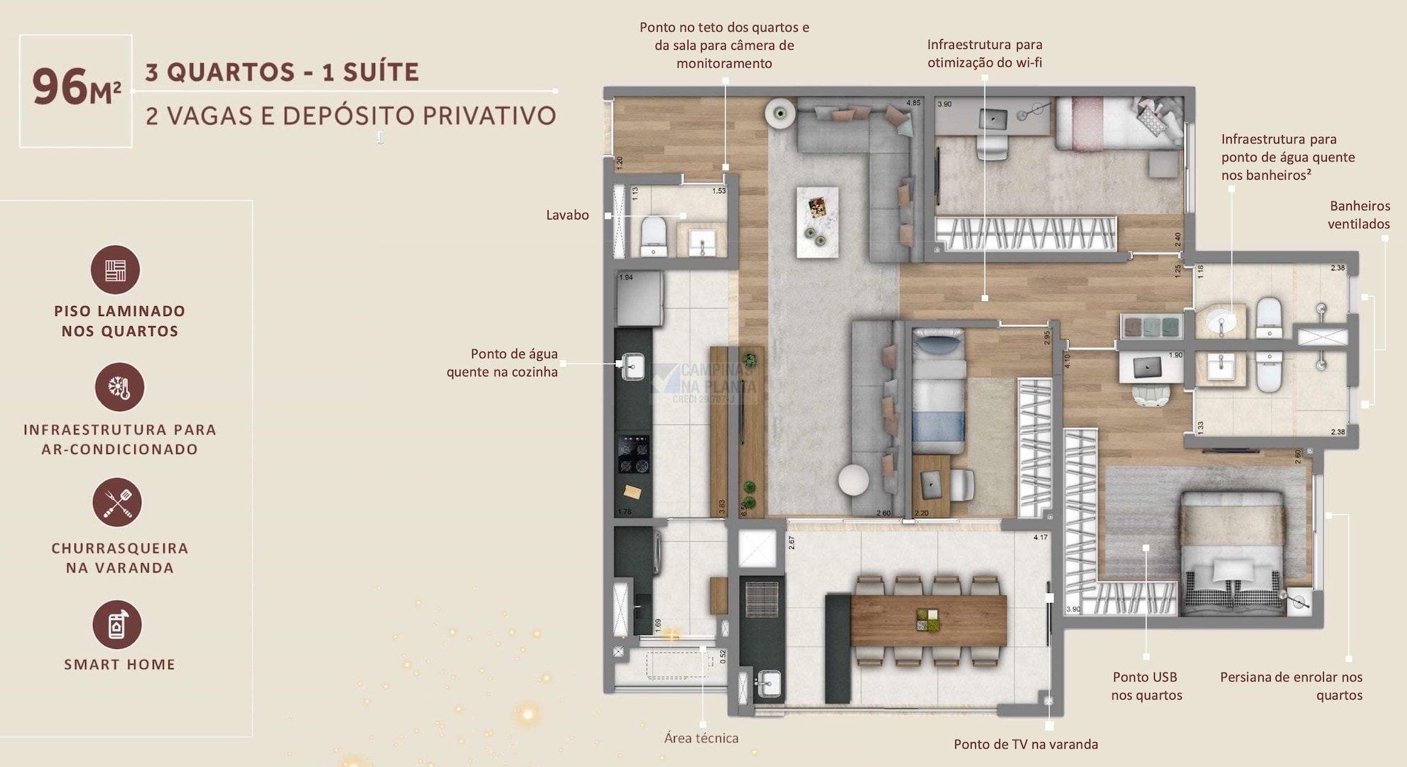 Living Grand Wish Nova Campinas Planta 96 M2 3 Quartos 1 Suite