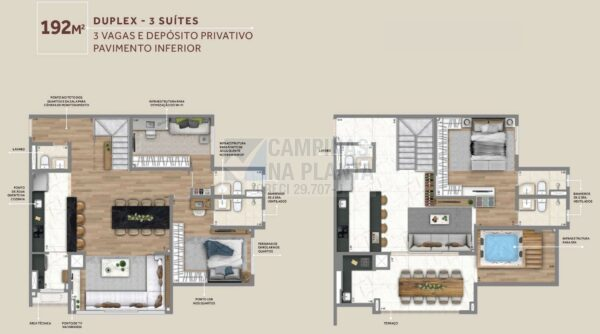 Living Grand Wish Nova Campinas Planta Do Pavimento Inferior Do Duplex 192 M2