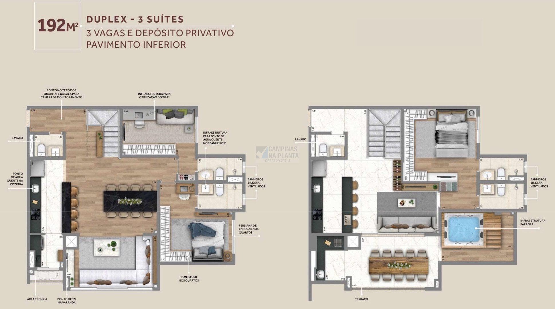 Living Grand Wish Nova Campinas Planta Do Pavimento Inferior Do Duplex 192 M2