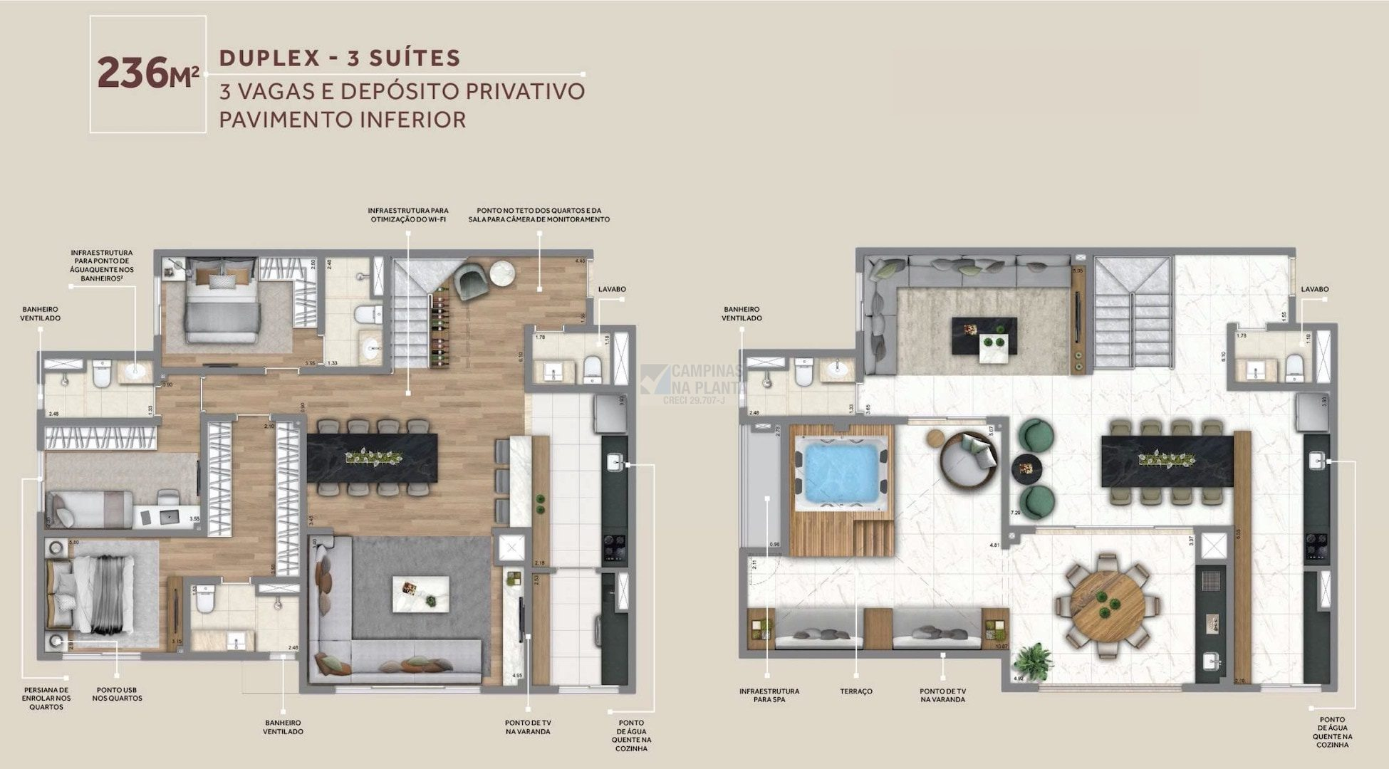 Living Grand Wish Nova Campinas Planta Do Pavimento Inferior Do Duplex 236 M2