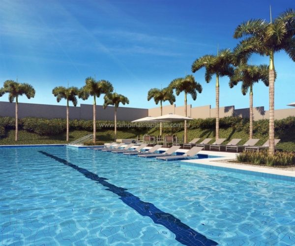 Perspectiva ilustrada da piscina do Living Welcome Taquaral