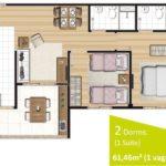 Planta de 61m² com 2 dormitórios (sendo 1 suíte)