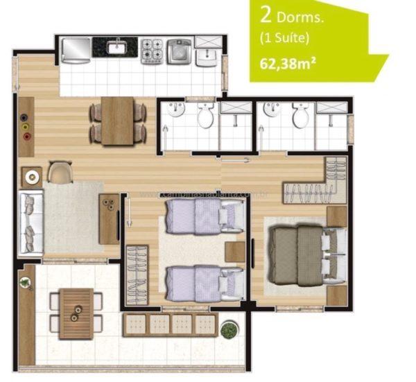 Planta de 62m² com 2 dormitórios (sendo 1 suíte)