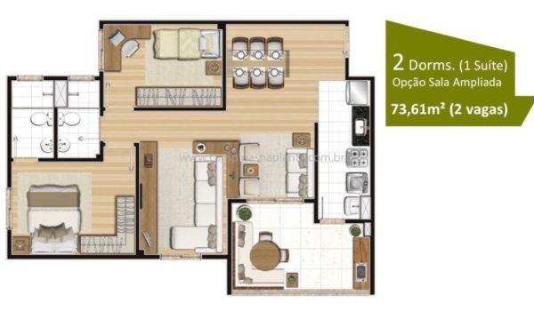 Planta de 73m² com living ampliado, 2 dormitórios (sendo 1 suíte)