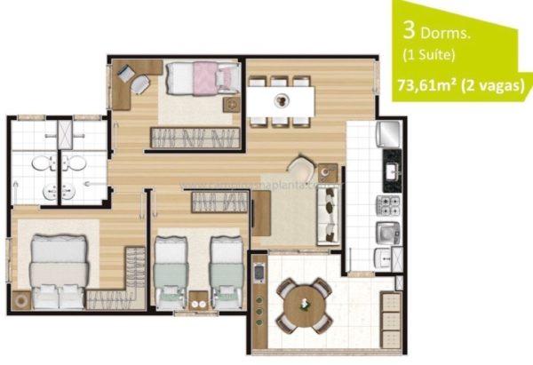 Planta de 73m² com 3 dormitórios (sendo 1 suíte)