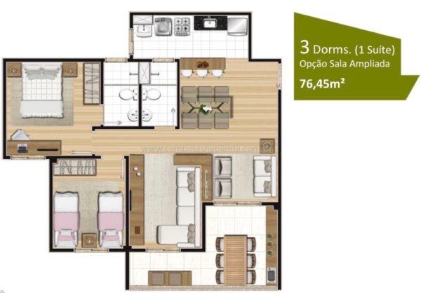 Planta opção de 76m² com living ampliado e 2 dormitórios (sendo 1 suíte)