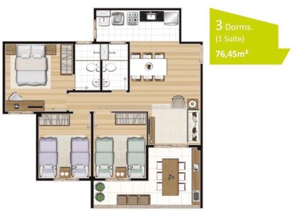 Planta padrão de 76m² com 3 dormitórios (sendo 1 suíte)