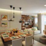 Perspectiva ilustrada da sala ampliada do apartamento de 73m² planta opção
