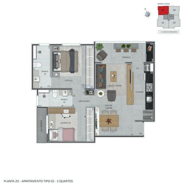 praca guanabara planta humanizada apartamento tipo 2 quartos