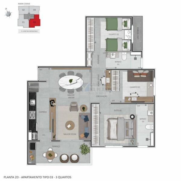 praca guanabara planta humanizada apartamento tipo 3 quartos