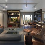 Perspectiva ilustrada do living ampliado do apartamento tipo de 71m²