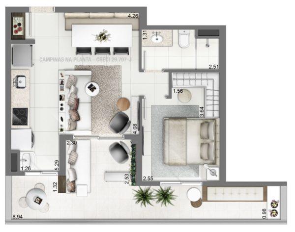 Setin Midtown Aquidaban Planta Giardino 48m²
