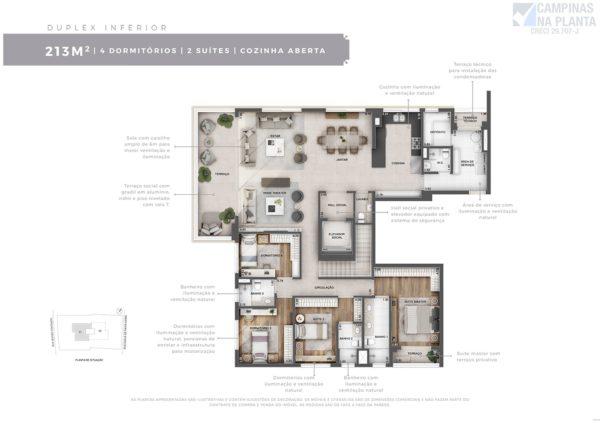 Planta do apartamento duplex inferior, com 4 quartos (sendo 2 suítes) e cozinha aberta do Severo 111