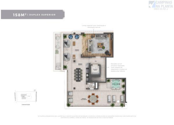 Planta do apartamento duplex (piso superior) do Severo 111