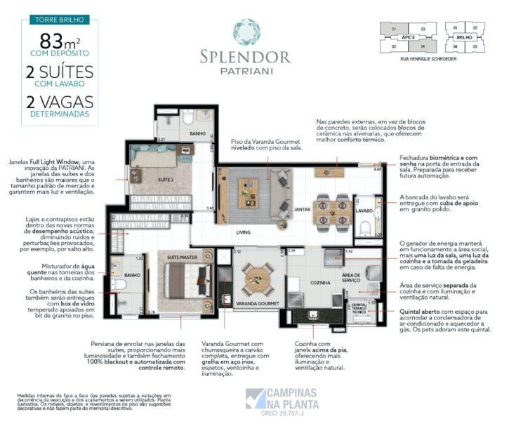 Planta de 83 m² do Splendor Patriani breve lançamento de apartamentos na planta no Taquaral