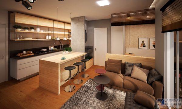 Perspectiva do Living e Cozinha Studio Morada Guanabara