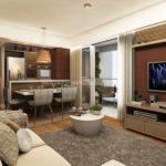 apartamentos prontos taquaral square perspectiva do living das unidades de 66m²