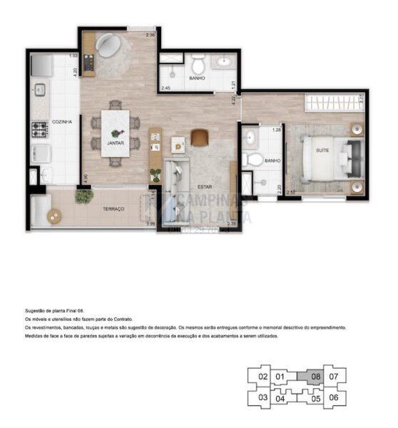 Teg Mansoes Planta 1 Quarto Sendo 1 Suite Living Ampliado