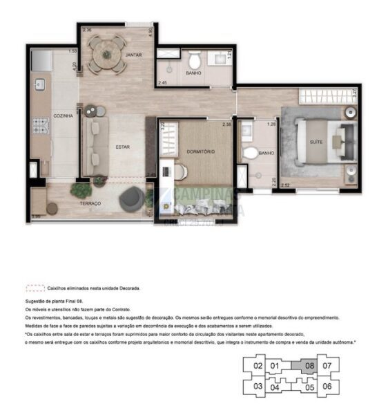 Teg Mansoes Planta 2 Quartos 1 Suite Estar Integrado Terraco