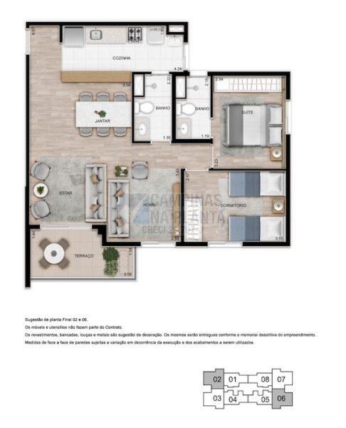 Teg Mansoes Planta 2 Quartos 1 Suite Living Ampliado