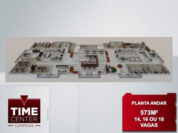 Perspectiva ilustrada exemplo de uma laje de 573m² do Time Center em Campinas
