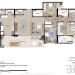 Planta tipo humanizada dos apartamentos de 177m² Uniqueness Cambui