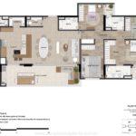 Planta opção humanizada dos apartamentos de 177m² Uniqueness Cambui