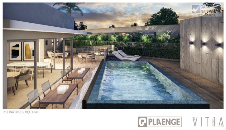 Área reservada com piscina e grilo deste lançamento Plaenge na Rua Maria Monteiro