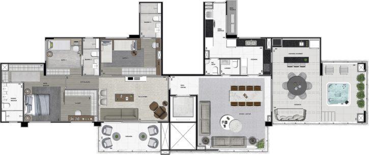 Planta Penthouse 230 m²