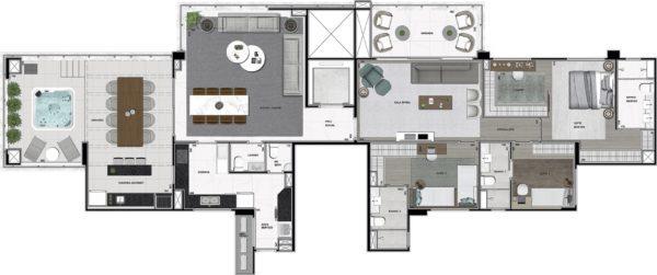 Planta Penthouse 225 m²