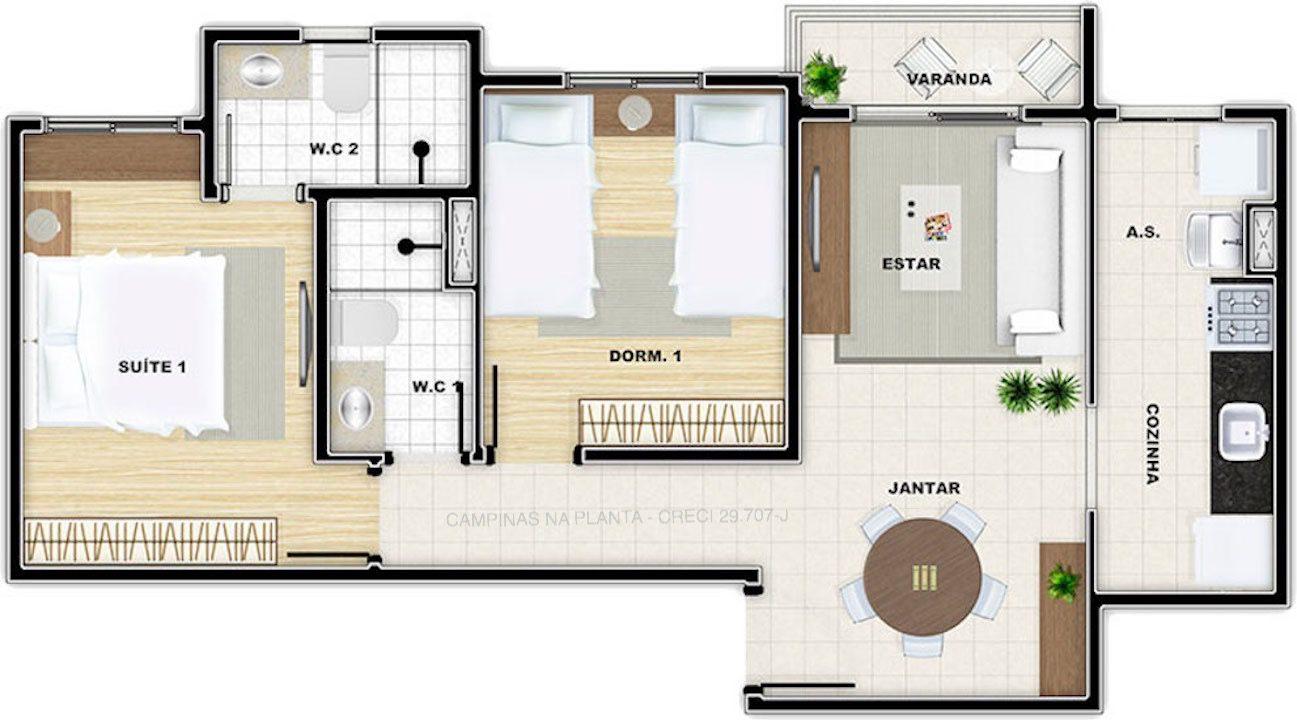 vivere residence campinas planta de 56m² de meio