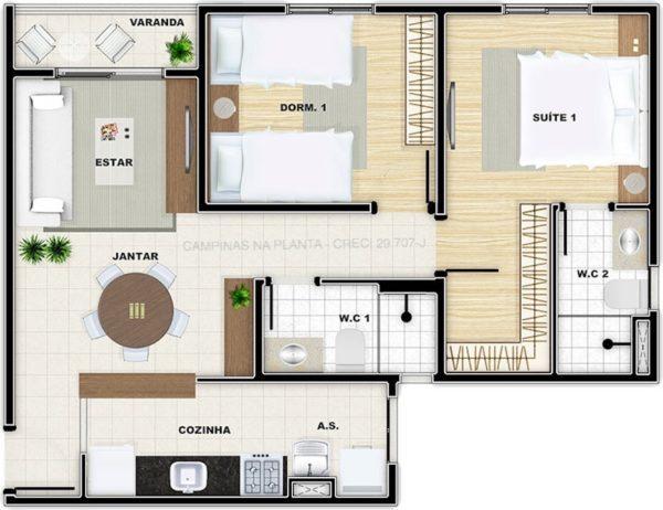 vivere residence campinas planta 56m² de ponta