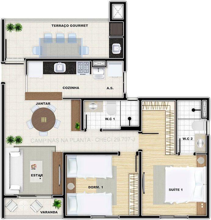 vivere residence campinas planta 65m²