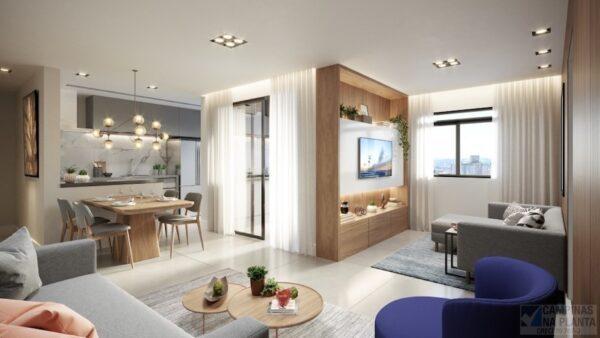 living apartamento vizzi guanabara, lançamento em Campinas