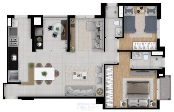 planta opção 1 de 78m² apartamento no guanabara